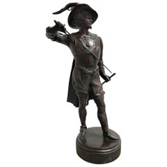 Bronze Sculpture of Musketeer Drawing a Weapon