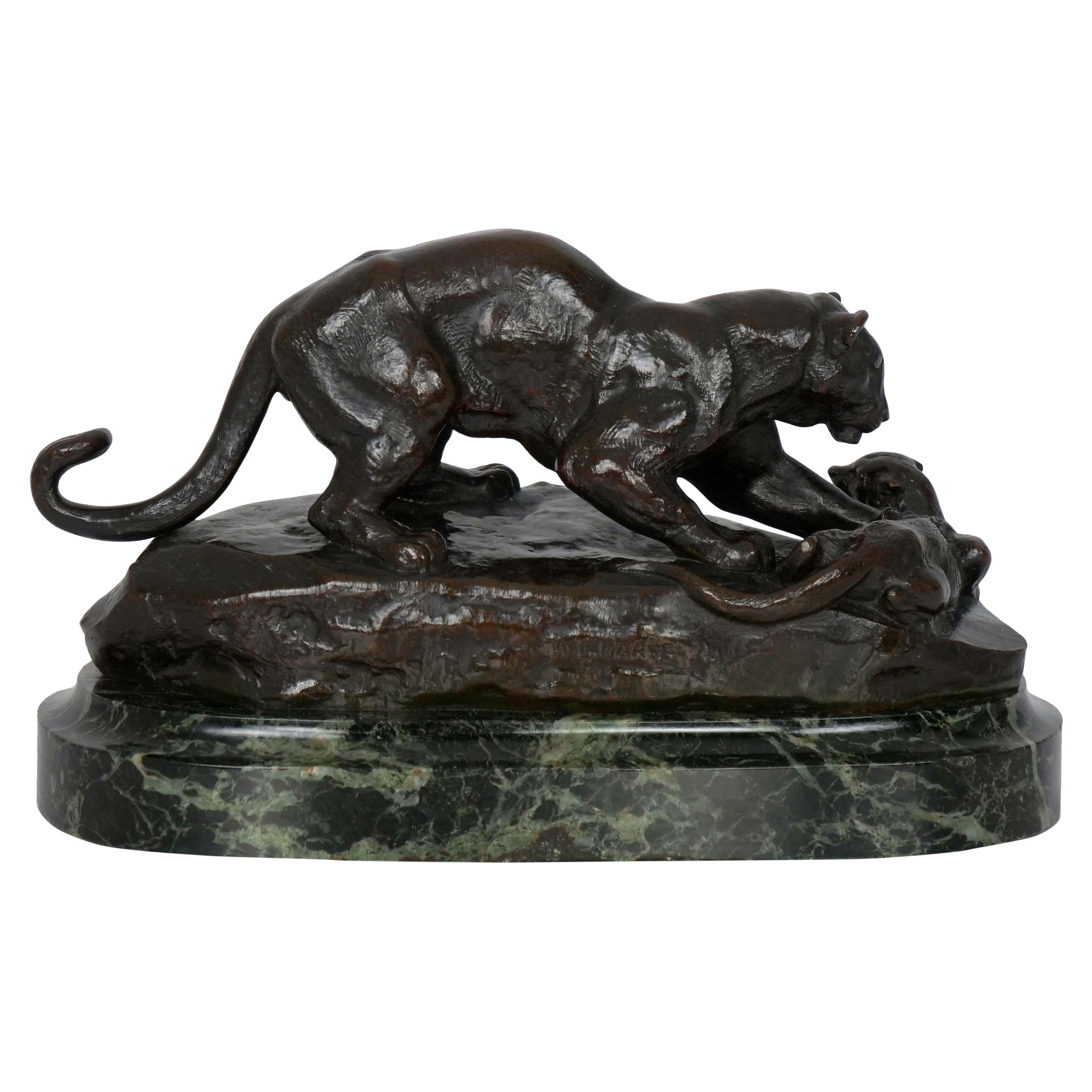 """Bronze Sculpture of """"Panther Attacking Civet Cat"""" by Antoine-Louis Barye"""