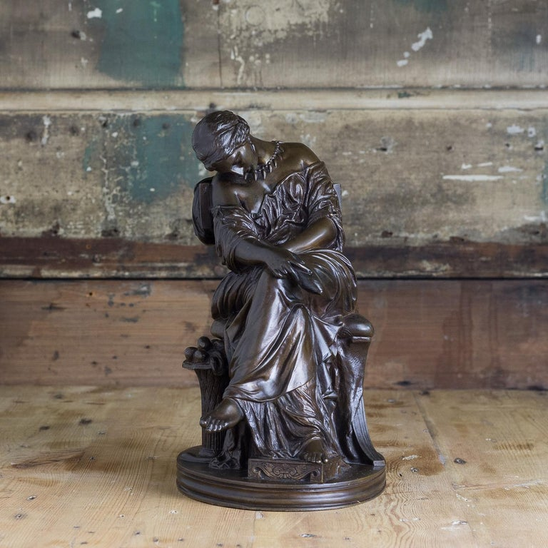 French, 19th century bronze sculpture of Penelope waiting for Odysseus, probably cast by the Barbedienne foundry to a design by Pierre-Jules Cavalier, stamped to the rear 'J.Cavelier no. 167' and 'Reduction Meccanique'.