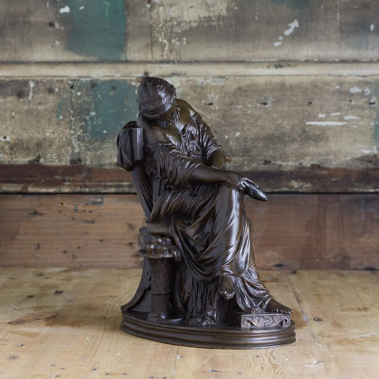 Classical Greek Bronze Sculpture of Penelope, French, 19th Century For Sale