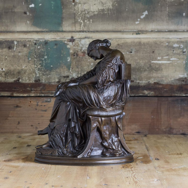 Cast Bronze Sculpture of Penelope, French, 19th Century For Sale
