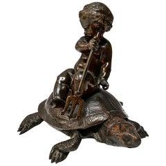 Bronze Sculpture of Putti on Tortoise