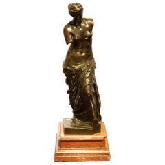 Bronze Sculpture of Venus on a Terracotta Marble Base