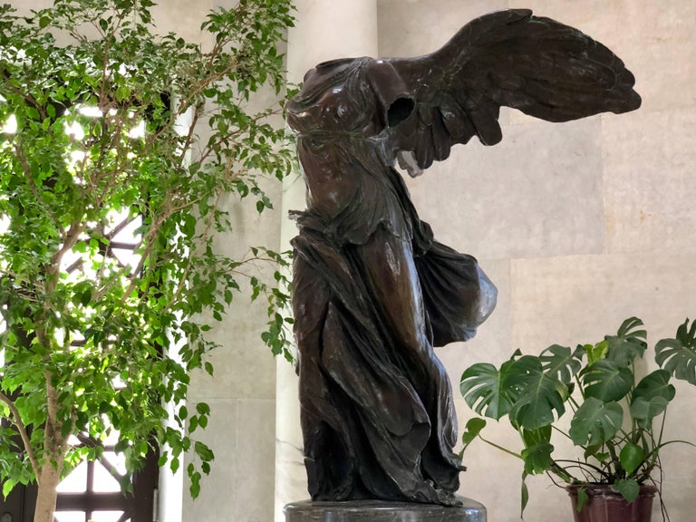 This is a stunning bronze example of the Winged Victory of Samothrace, also called the Nike of Samothrace. The original is made of marble of the Hellenistic Period, 2nd century BC and graces the stairway entrance to the Antiquities Gallery of the