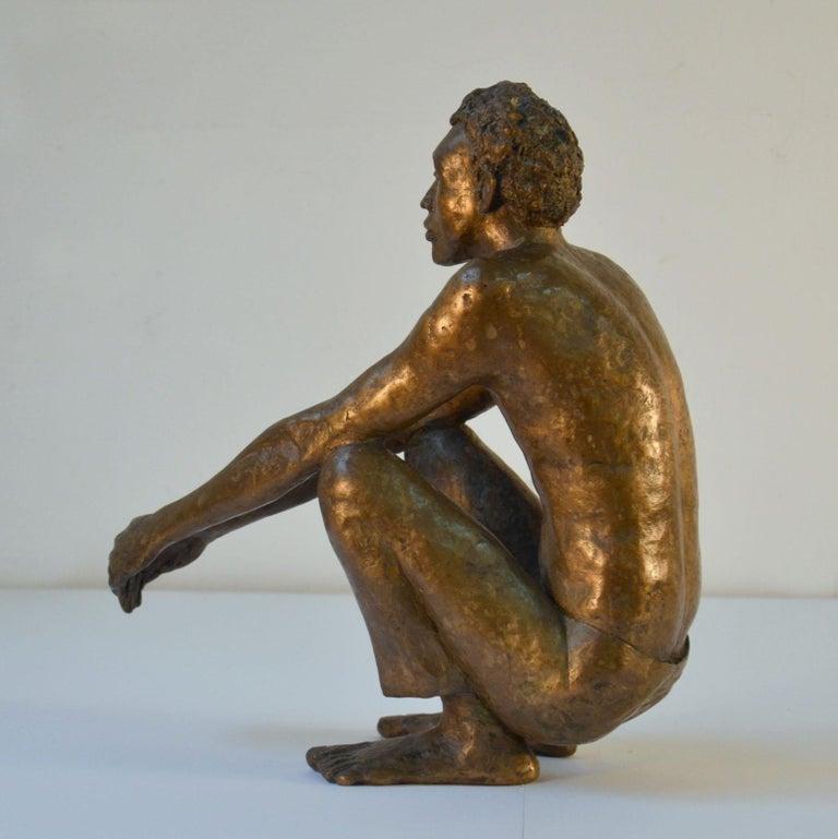 European Bronze Sculpture of Waiting Man Dutch, 1986 For Sale