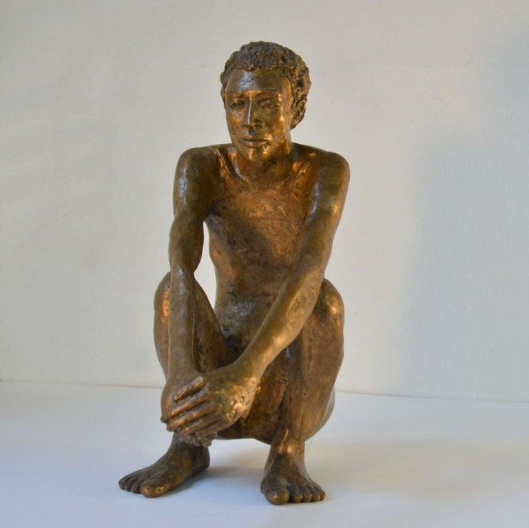 Cast Bronze Sculpture of Waiting Man Dutch, 1986 For Sale