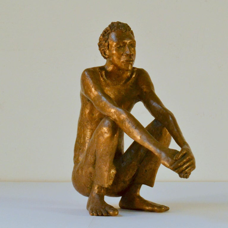 Late 20th Century Bronze Sculpture of Waiting Man Dutch, 1986 For Sale