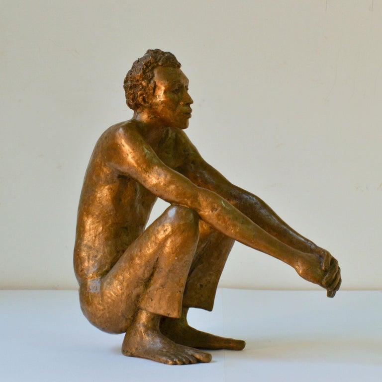 Bronze Sculpture of Waiting Man Dutch, 1986 For Sale 1