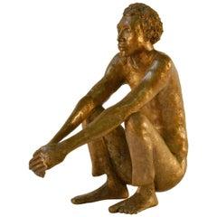 Bronze Sculpture of Waiting Man Dutch, 1986