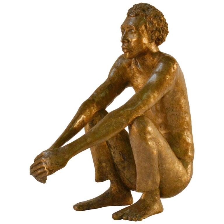 Bronze Sculpture of Waiting Man Dutch, 1986 For Sale