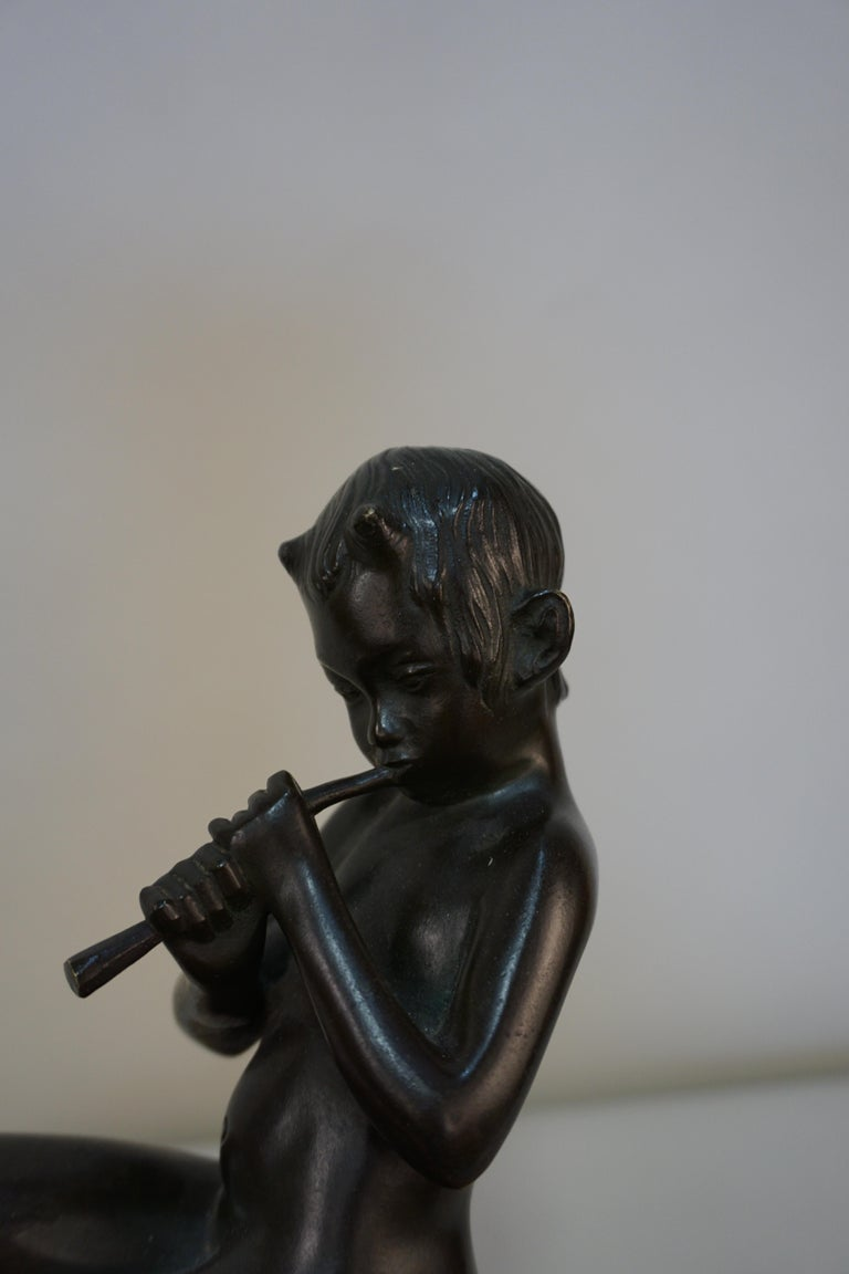 Bronze Sculpture of Young Pan Playing a Flute For Sale 2