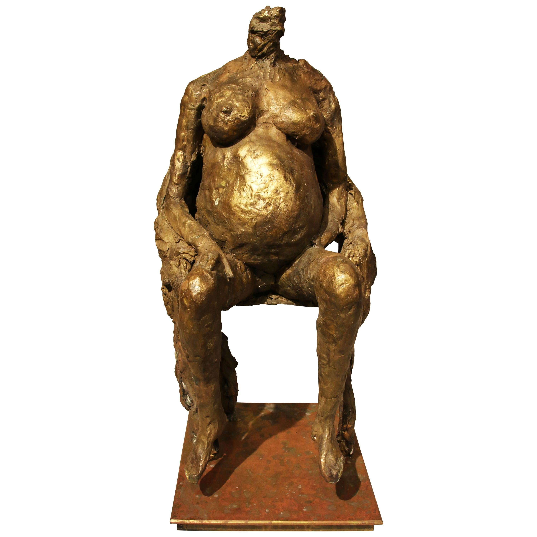 "Bronze Sculpture ""Pregnant woman sitting"" by Karen Finkelstein"