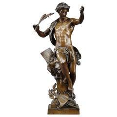 """Bronze Sculpture, """"Pro Merito"""", Signed Emile-Louis Picault"""