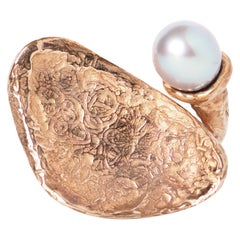 Bronze Sculpture Ring Natural Pearl