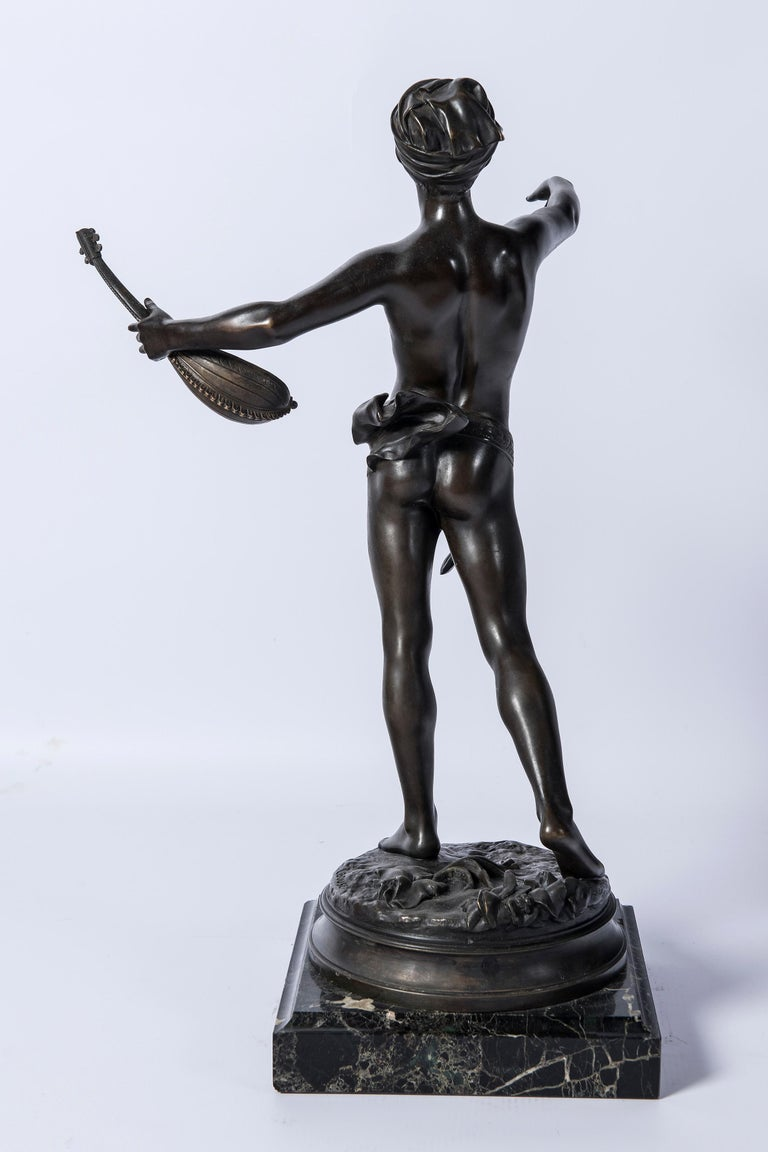 Bronze sculpture, signed Laouse. France, circa 1900. Marble base.