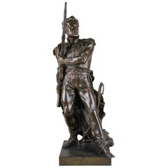 "Bronze Sculpture ""Soldier"" by Charles Petre, France, circa 1870"