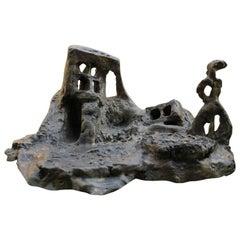 """Bronze Sculpture """"Sortie de chaos, avec silhouette"""" 2005, by Catherine Val"""