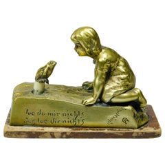 Bronze Sculpture Table Bell Girl with Frog