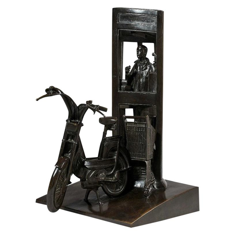 "Bronze sculpture ""Telephone booth"" by André Barelier 'born in 1934'"