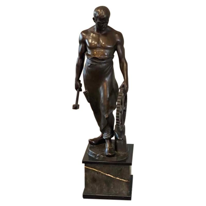 """Bronze sculpture """"the blacksmith"""" by Franz Iffland, Germany 19th Century"""