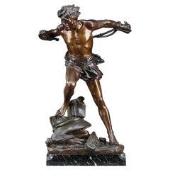 "Bronze Sculpture, ""The prisoner"" Signed Edouard Drouot"