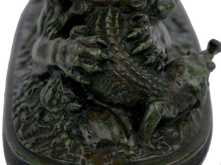 "Bronze Sculpture ""Tiger Devouring a Gavial"" after Antoine-Louis Barye For Sale 5"