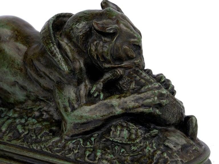 "Bronze Sculpture ""Tiger Devouring a Gavial"" after Antoine-Louis Barye For Sale 6"