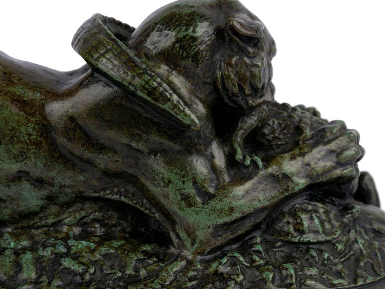 "Bronze Sculpture ""Tiger Devouring a Gavial"" after Antoine-Louis Barye For Sale 7"