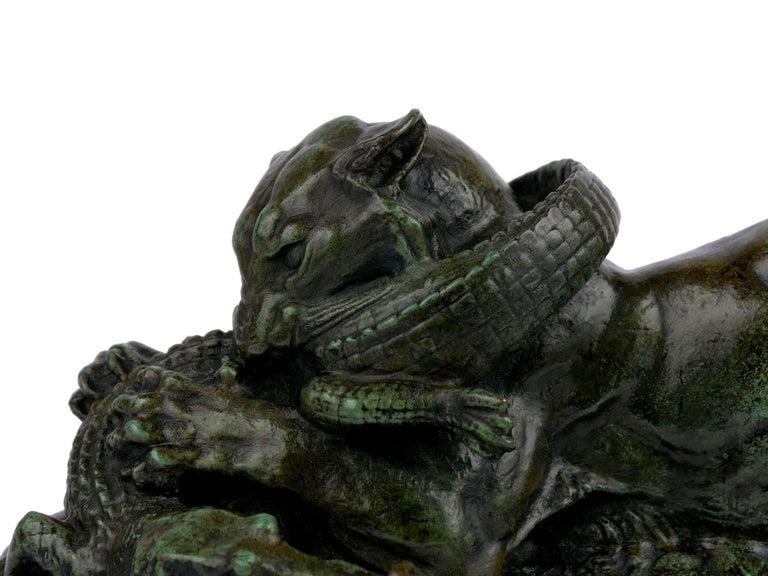 "Bronze Sculpture ""Tiger Devouring a Gavial"" after Antoine-Louis Barye For Sale 1"