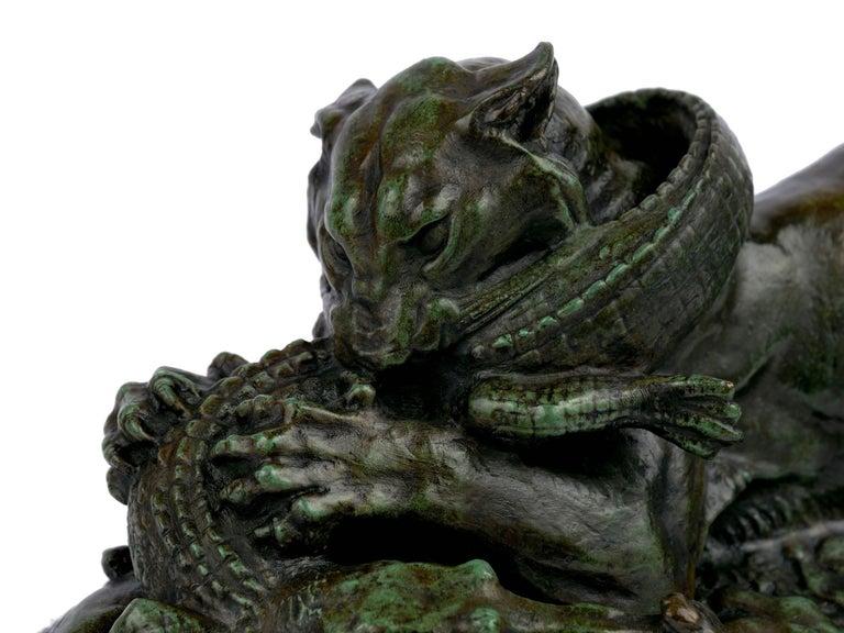 "Bronze Sculpture ""Tiger Devouring a Gavial"" after Antoine-Louis Barye For Sale 3"