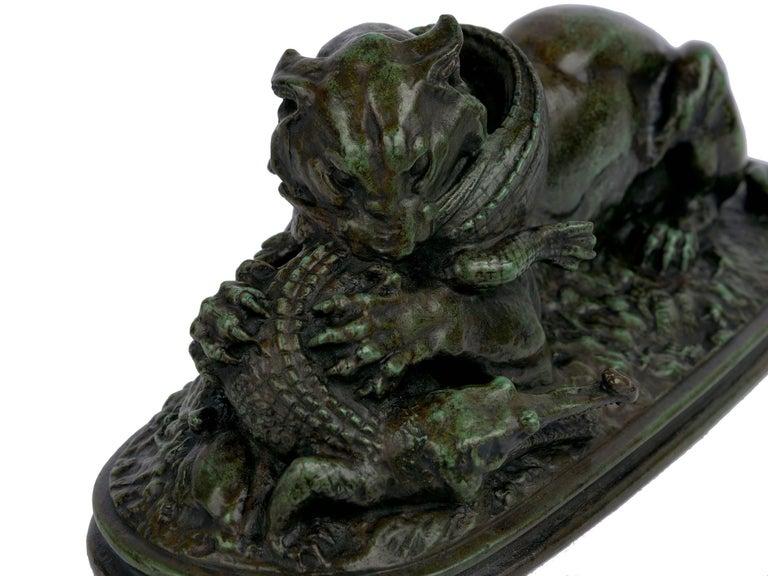 "Bronze Sculpture ""Tiger Devouring a Gavial"" after Antoine-Louis Barye For Sale 4"