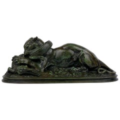 "Bronze Sculpture ""Tiger Devouring a Gavial"" after Antoine-Louis Barye"