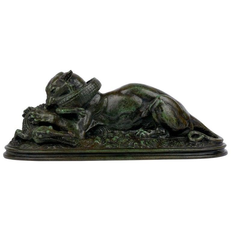 "Bronze Sculpture ""Tiger Devouring a Gavial"" after Antoine-Louis Barye For Sale"