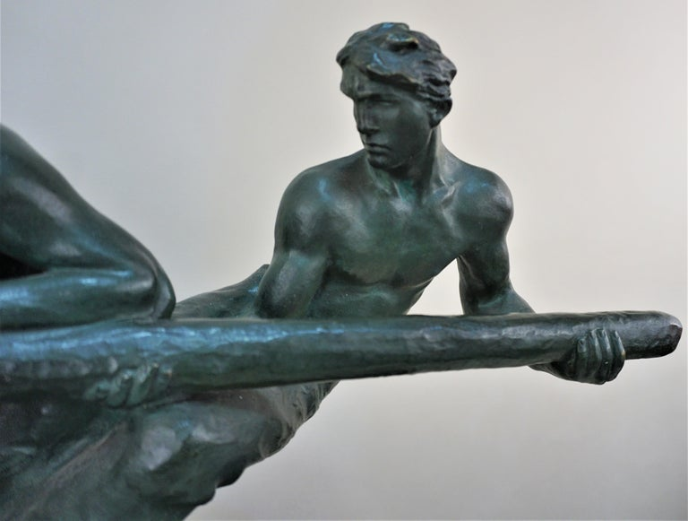 French Bronze Sculpture Two Men Steering by Alexandre Kelety For Sale