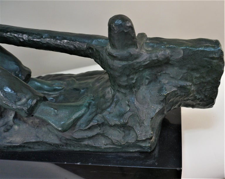 Bronze Sculpture Two Men Steering by Alexandre Kelety In Good Condition For Sale In Fairfax, VA