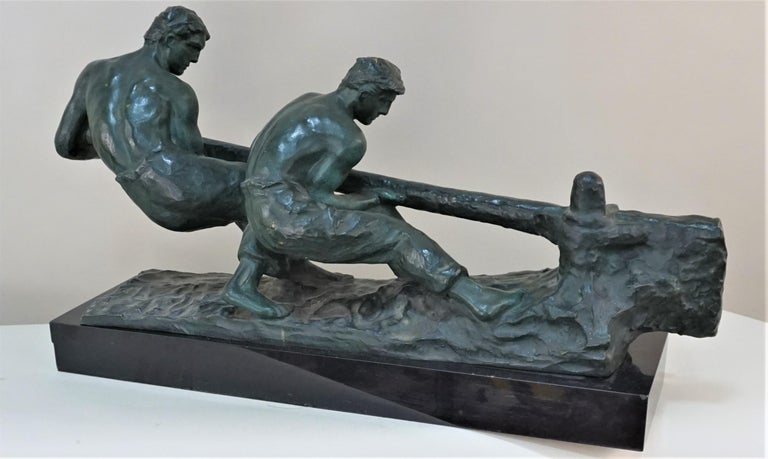 Mid-20th Century Bronze Sculpture Two Men Steering by Alexandre Kelety For Sale
