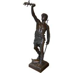 Bronze Sculpture 'Vainquer' by French Artist Eugene Marioton