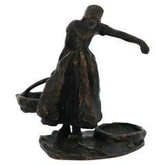 """Bronze Sculpture, """"Woman carrying water"""", Carl Milles, Sweden, Herman Bergman"""