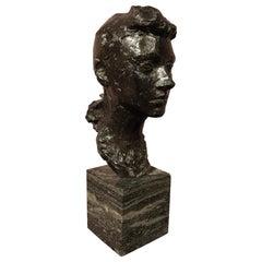 """Bronze Sculpture """"Woman Portrait"""" by Albert Leclerc"""