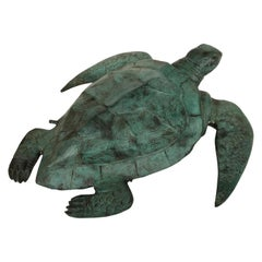 Bronze Sea Turtle Fountain Water Feature Tortoise, 20th Century