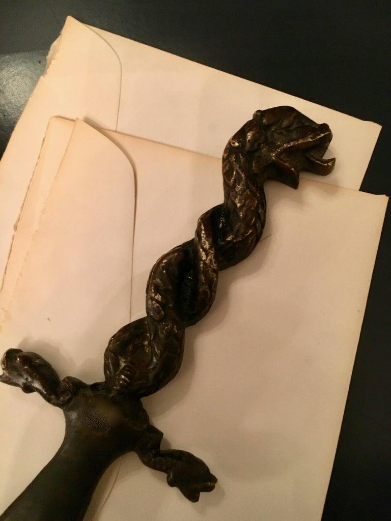 Bronze Serpent Dolphin Letter Opener For Sale 2