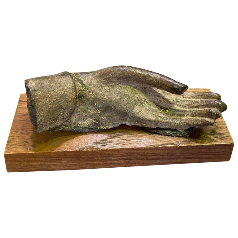 Bronze Siamese Asian Buddha Antiquity Hand Sculpture, 15th-16th Century For Sale