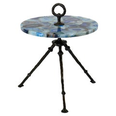 Bronze Side Table with Round Blue Agathe Top
