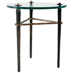 Bronze Side Table with Round Glass Top