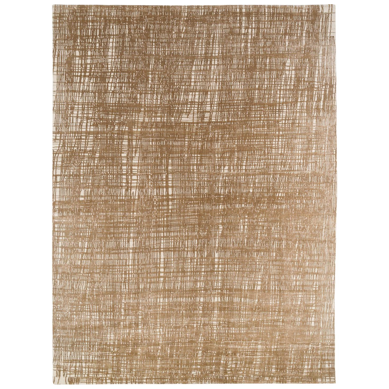 Bronze, Silver and White Silk and Wool Contemporary Grid Rug