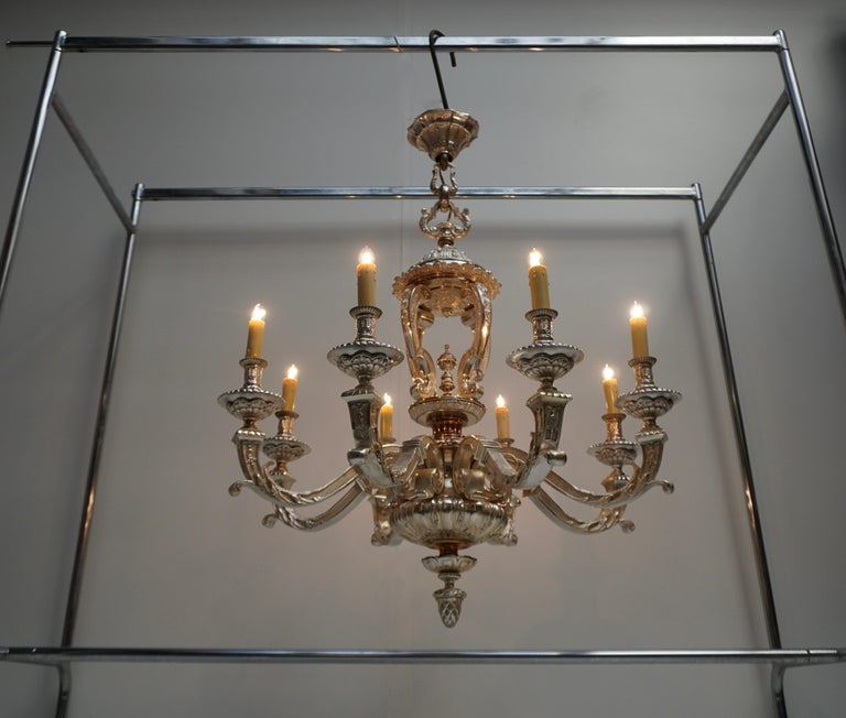 Bronze Silver Plated Mazarin Chandelier In Good Condition For Sale In Antwerp, BE