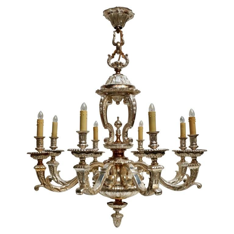 Bronze Silver Plated Mazarin Chandelier For Sale