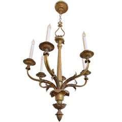 Bronze Six-Candle Chandelier with Acanthus Leaf