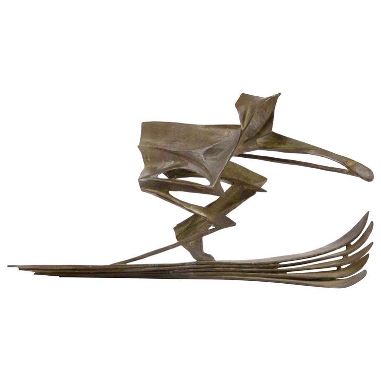 Bronze Skiing Sculpture by Robert Cook For Sale