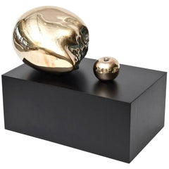 Bronze Skull Head and Apple Sculpture Vintage